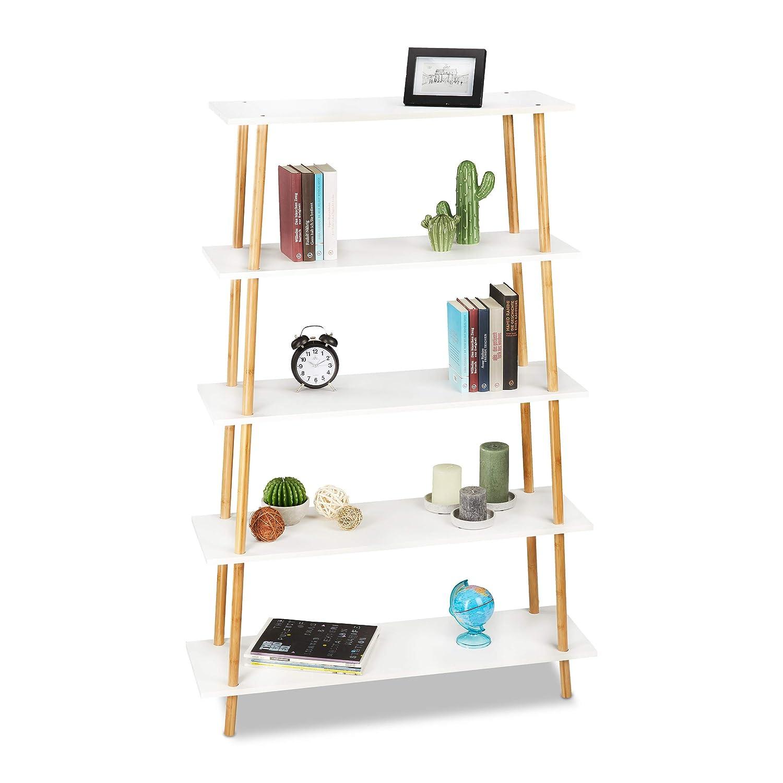 Relaxdays Bücherregal, 5 Ablagen, für Bücher, CDs, DVDs, Bambus, MDF, Standregal HxBxT: 149,5 x 100 x 30 cm, Natur/weiß