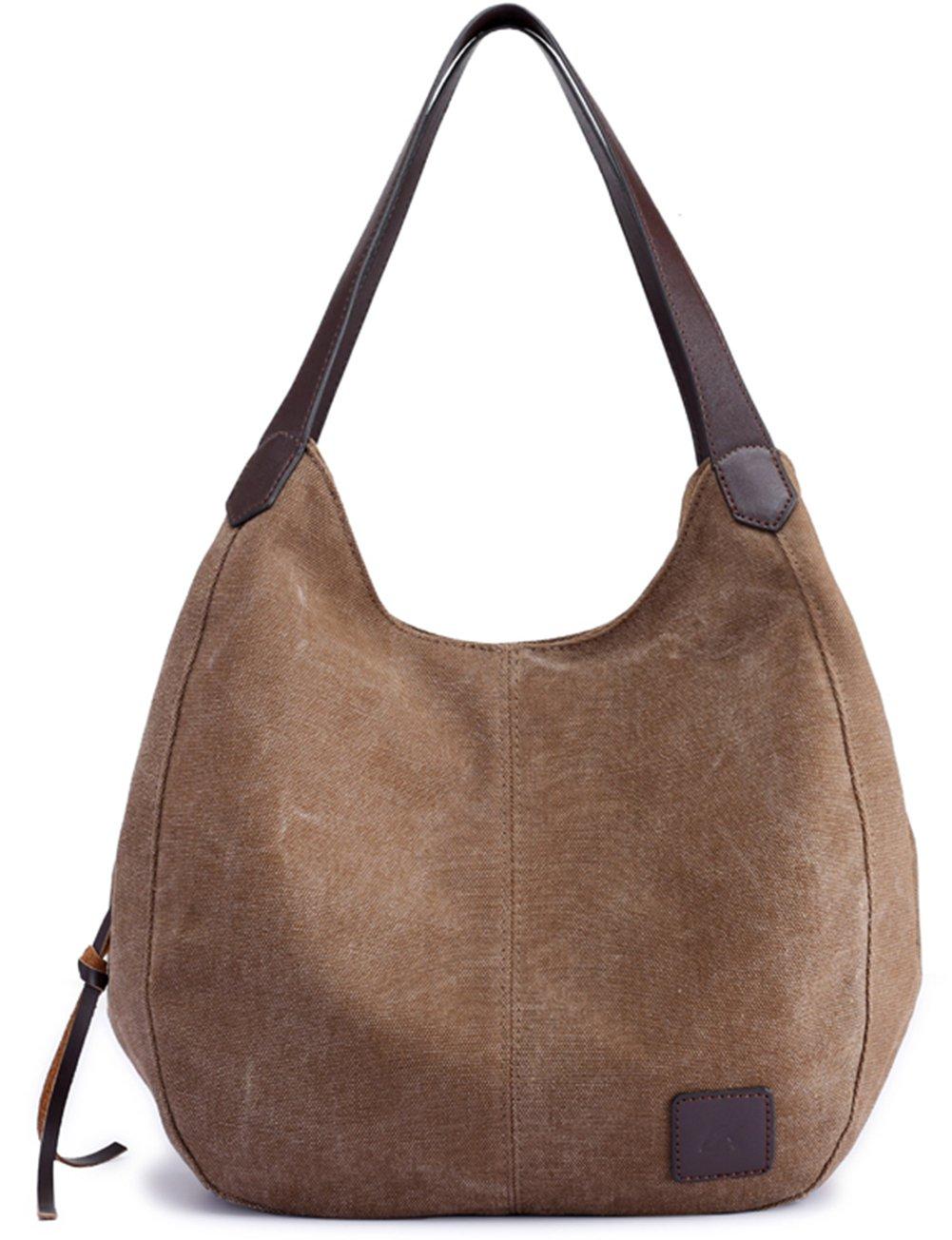 Luckysmile Canvas Hobo Bag Top Handle Tote Handbag Travel Shopping Bag for Women