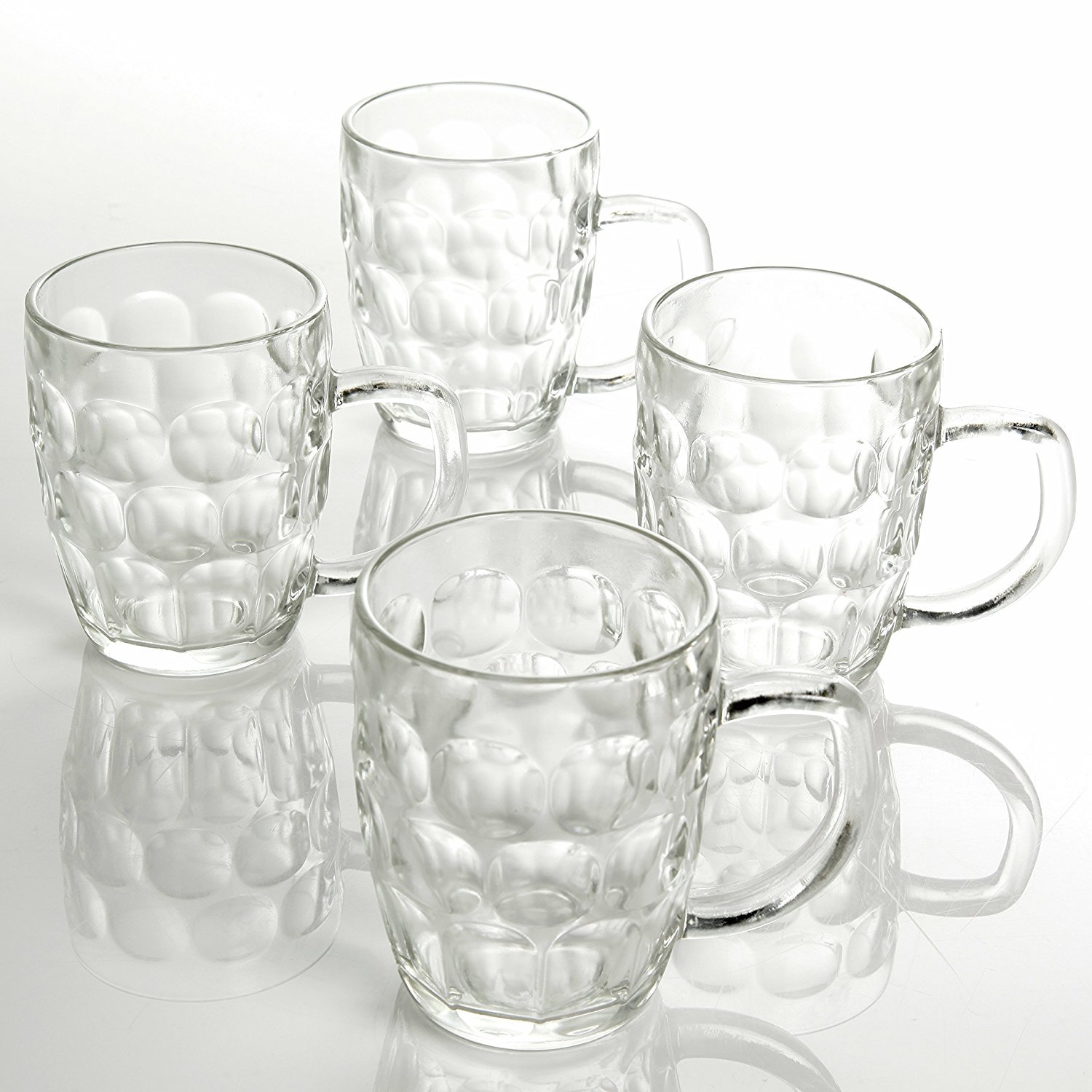 Tableau 4-Piece Embossed Glass Beer Mugs, 18-Ounces, Clear