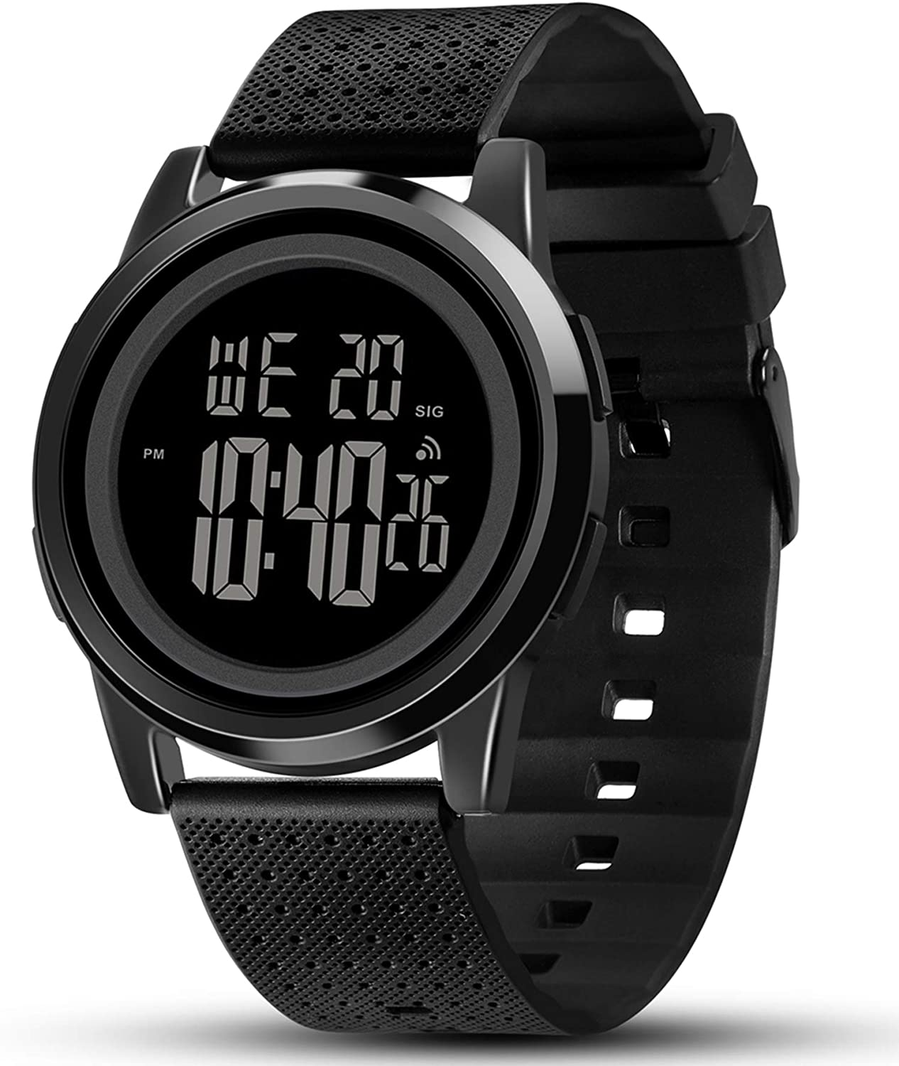 Amazon.com: YUINK Men's Ultra-Thin Stainless Steel Digital Sports Watch, Multifunctional Chronograph Minimalist Waterproof - Fashion Wrist Watch for Men (Black): Watches