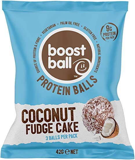 Boostballs Boostball Protein Balls High Protein Healthy Snack Gluten Free Protein Bar Alternative Coconut Fudge Cake Flavour Pack Of 12 X 42g Bbcfc012 Amazon Co Uk Grocery
