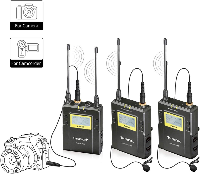 Saramonic UwMic9 Sistema de micrófonos lavalier inalámbrico UHF omnidireccional de 96 canales Dos transmisores y un receptor para cámaras Sony DSLR Nikon Canon, para video, entrevista, ENG, TV