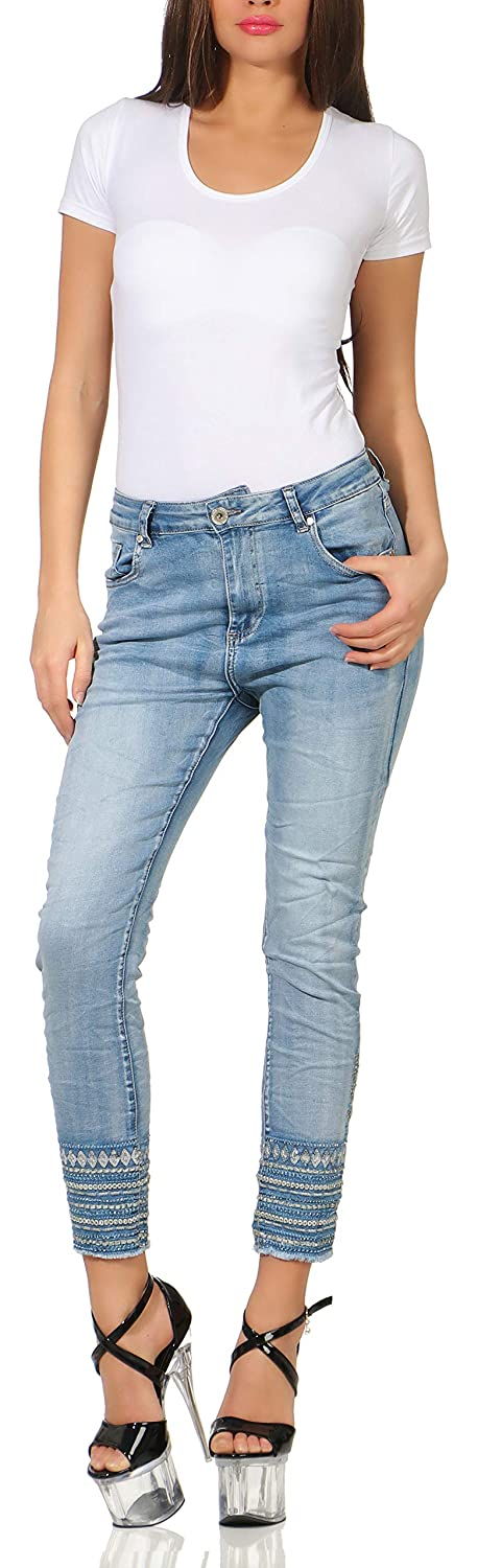 Boyfriend Stretch Jeans blau Stickerei Pailletten Ethno-Look 38-48 Karostar