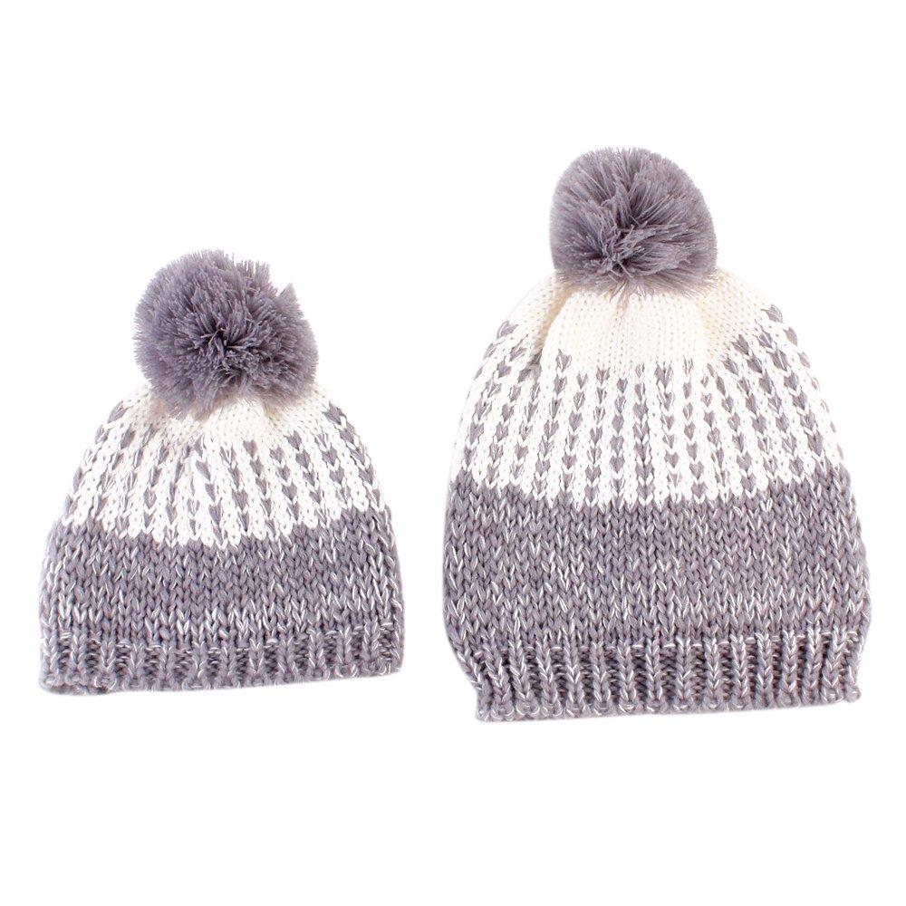 Eizur 2pcs Mamma e Bambino Maglia Cappello Inverno Caldo Uncinetto Beanie Berretto--Grigio