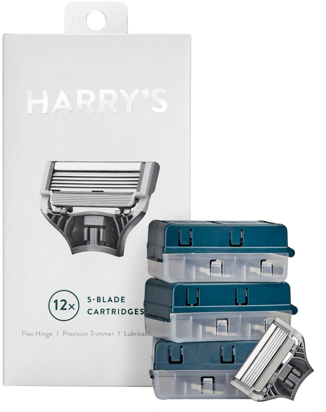 Harrys Razor Blades (1 Pack of 4) in Durable Hinged Water Friendly Travel Case harry' s