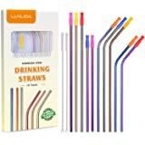 Colorful Metal Straws Set of 10, Reusable Stainless Steel Drinking Straws with Silicone Tips for 20 30 OZ Yeti Tumbler, RTIC, Tervis, Ozark Trail, Starbucks, Mason Jar (5 Straight+5 Bent+2 Brushes)