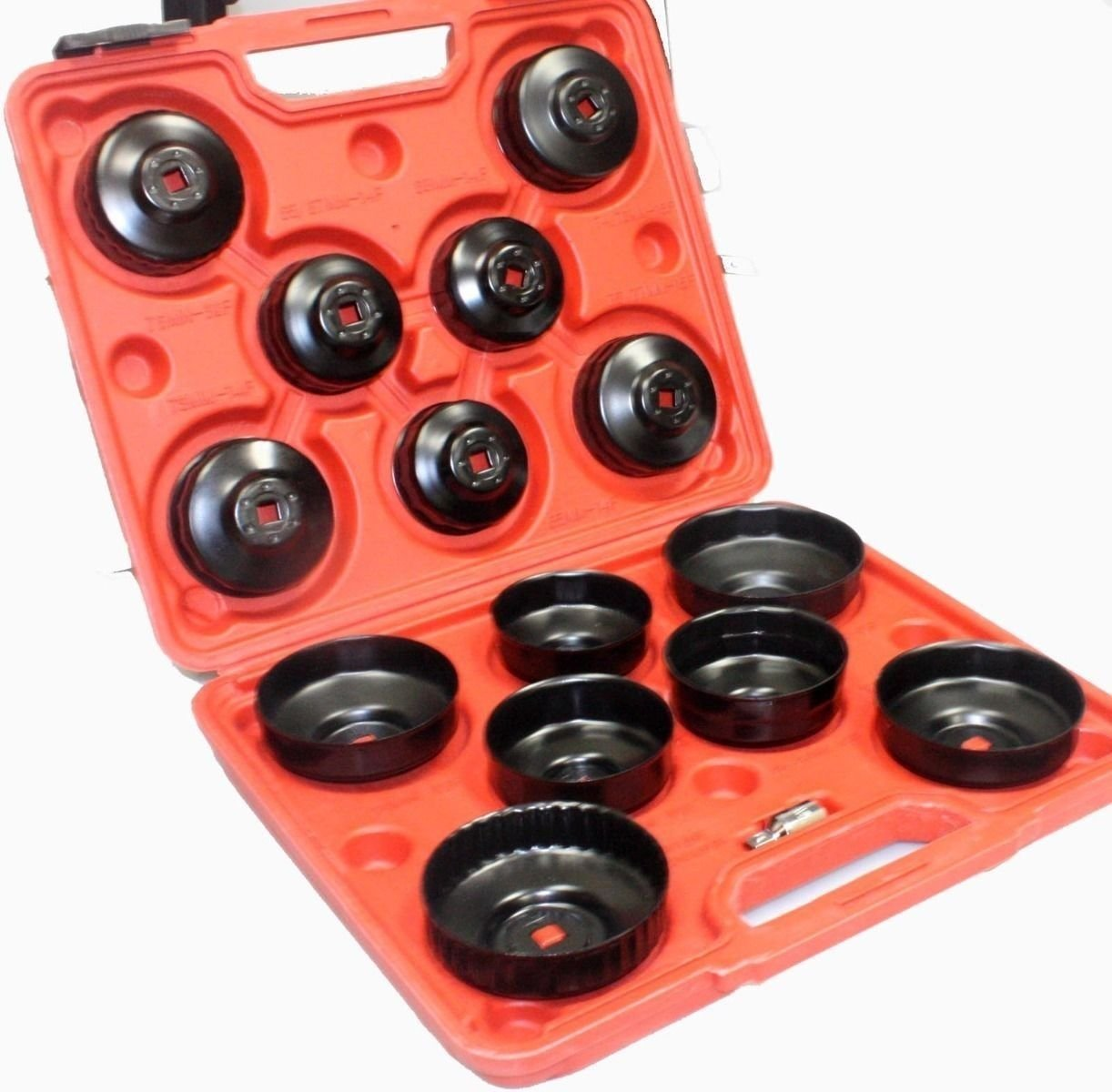 WIN.MAX 15Pcs Cup Type Oil Filter Cap Wrench Socket Removal Tool Set W/case 3/8'' Drive H