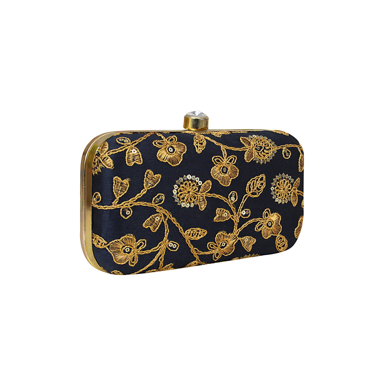 Hand Crafted Designer Box Clutch with Zari Embroidery Work on Silk Texture Specially Designed for Women & Girls in Parties/Wedding/festivals/Casual and special evenings (Navy Blue)