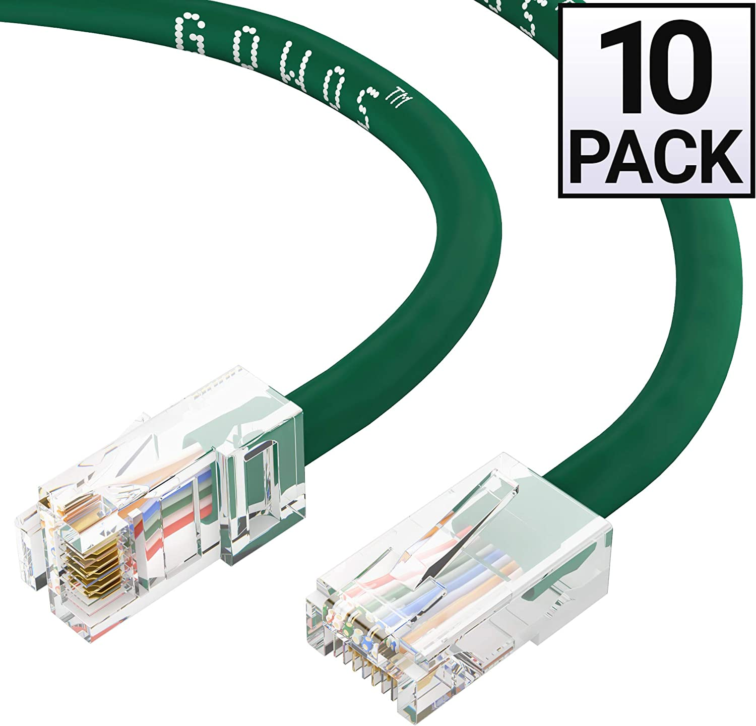 Green GOWOS Cat5e Ethernet Cable 1Gigabit//Sec High Speed LAN Internet//Patch Cable 350MHz 24AWG Network Cable with Gold Plated RJ45 Non-Booted Connector 10-Pack - 35 Feet
