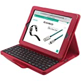 Apple iPad 2/3/4 Keyboard Case,Eoso Folding PU Leather Folio Cover with Removable Bluetooth Keyboard for iPad 2/3/4 Tablet(Red)