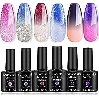 Senvenski Color Changing Gel Nail Polish Light Pink Blue Red Purple Lavender Glitter Soak Off Mood Chameleon UV LED…