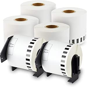 enKo - Compatible DK-2205 Continuous Paper Labels (2.4 Inch x 100 Feet) Compatible for Brother QL Label Printers - 6 Rolls + 2 Refillable Cartridges