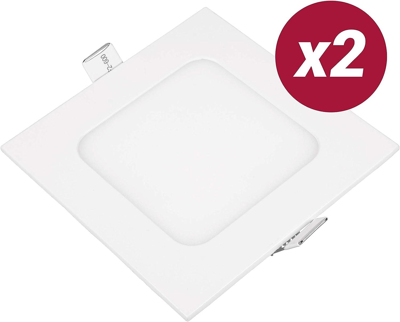 POPP- Pack 2 Downlight LED Extraplano Cuadrado Blanco,chip OSRAM Iluminacion LED Plafón de Techo (4000K, 6W): Amazon.es: Iluminación