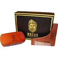 Macho Man Care Premium Beard Brush & Comb Shaping Tool Set for Men's