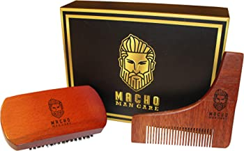 Macho Man Care Premium Beard Brush & Comb Shaping Tool Set for Men's