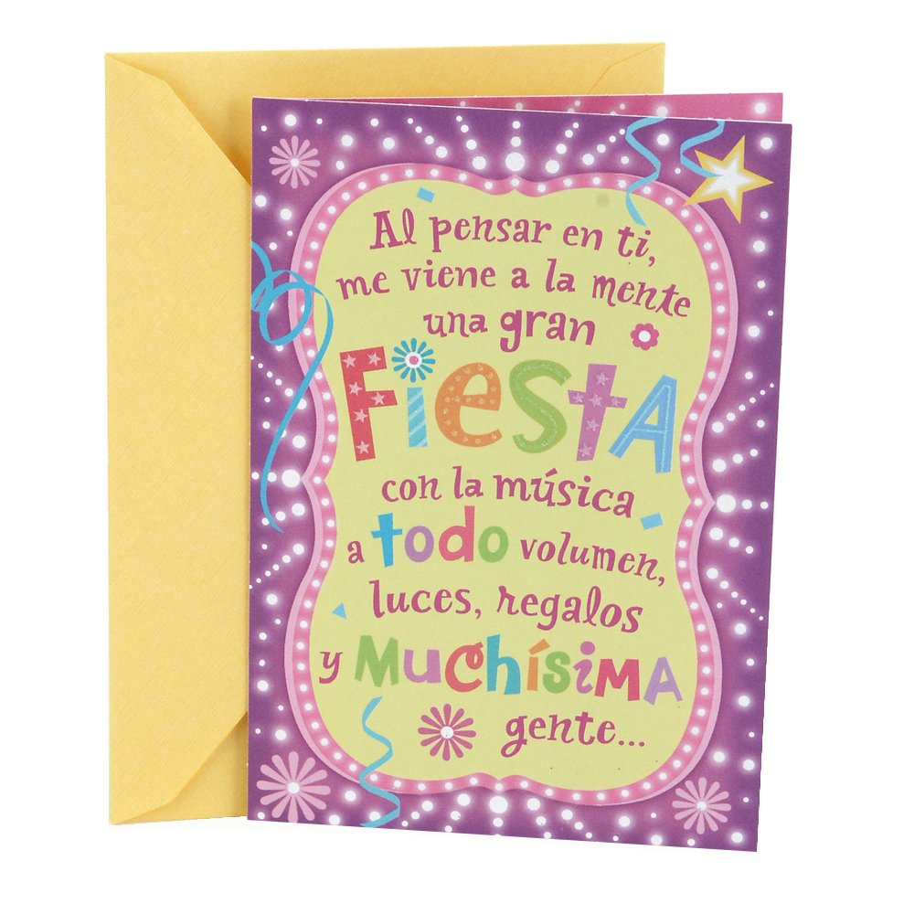 Amazon Hallmark Vida Spanish Birthday Greeting Card Lettering Lights Office Products