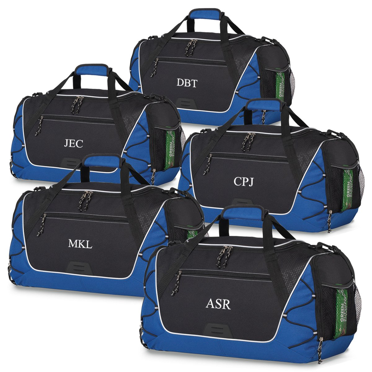Set of 5, Blue Personalized Sports Duffel Bag – Travel, Camping Bags for Men by A Gift Personalized