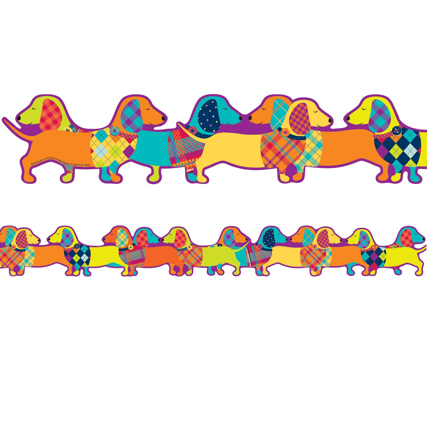 Eureka Multicolor Plaid Dog Themed Extra Wide Bulletin Board Trim and Classroom Decoration Strips, 12pcs, 3.25'' x 37''