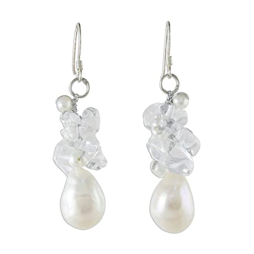 NOVICA Cultured Freshwater Pearl and Quartz Cluster Earrings with Sterling Silver Hooks, Icicles