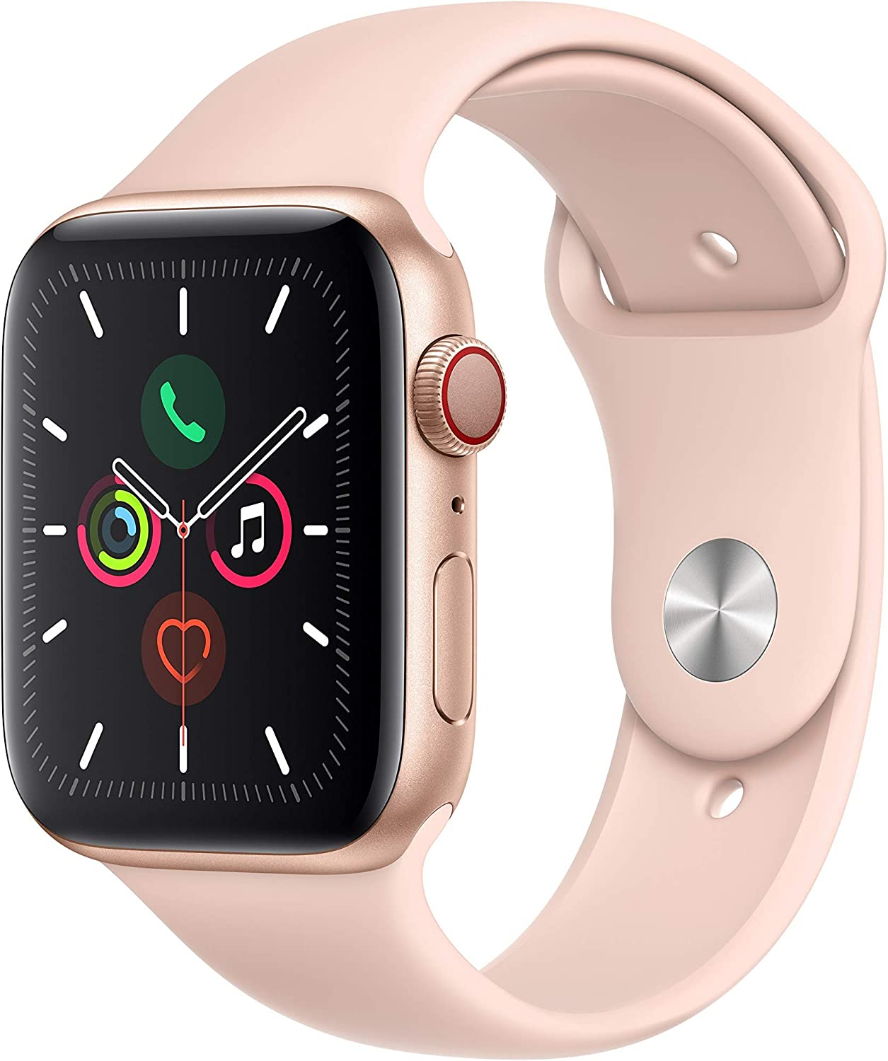 Apple Watch Series 5 (GPS + Cellular, 44MM) - Gold Aluminum Case with Pink Sand Sport Band (Renewed)