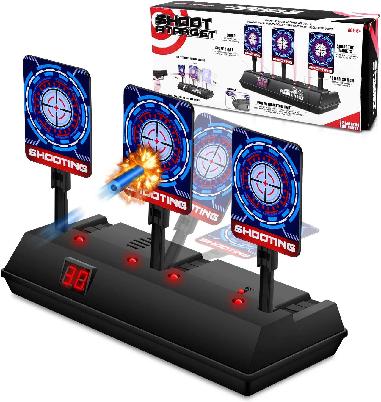 Auto Reset Digital Scoring Nerf Target Practice Toys for 5 6 7 8 9 10 Year Old Boys Xmas Gifts Black Growsland Electronic Shooting Target for Nerf Guns