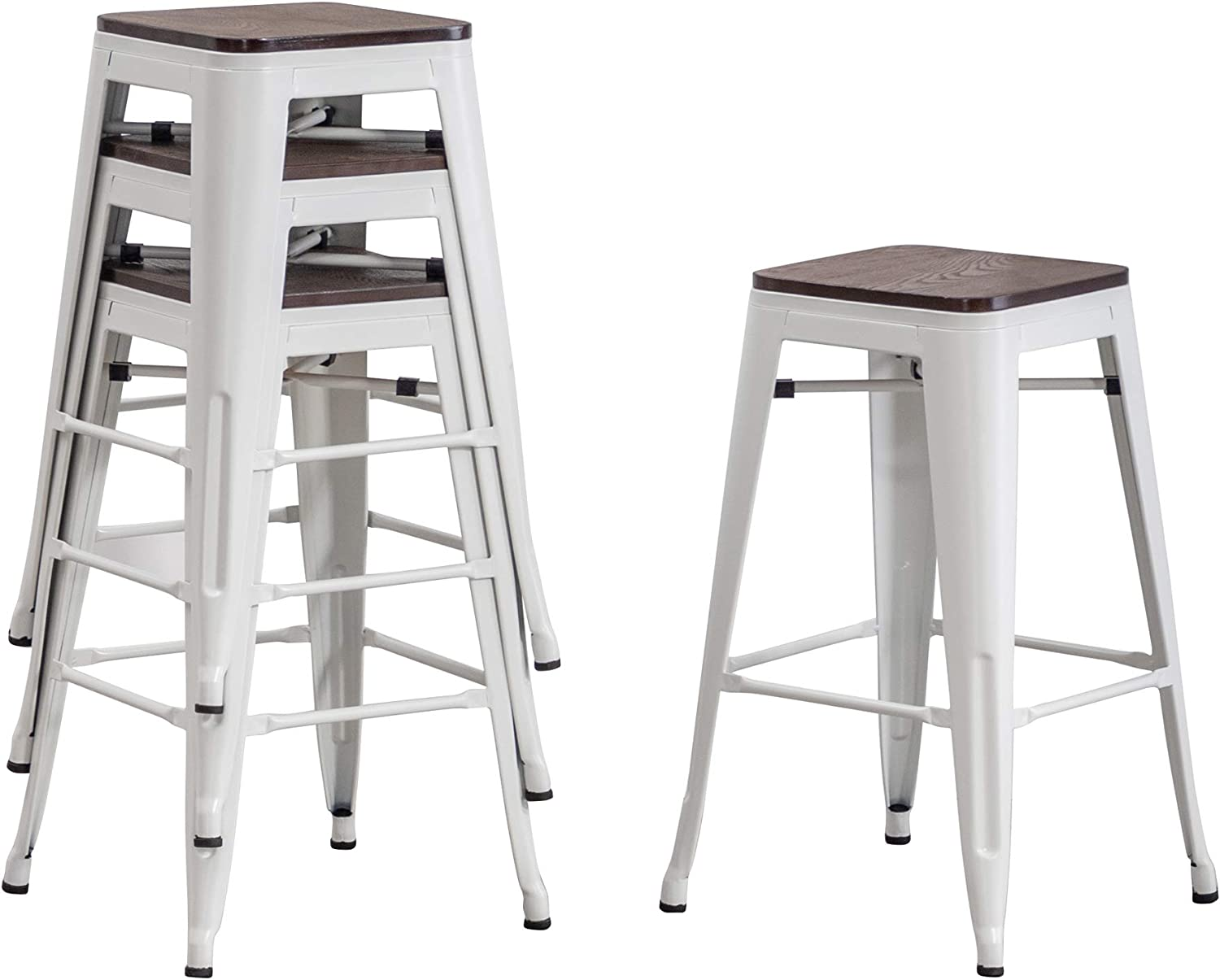 Stackable white metal farmhouse stools with wood seats