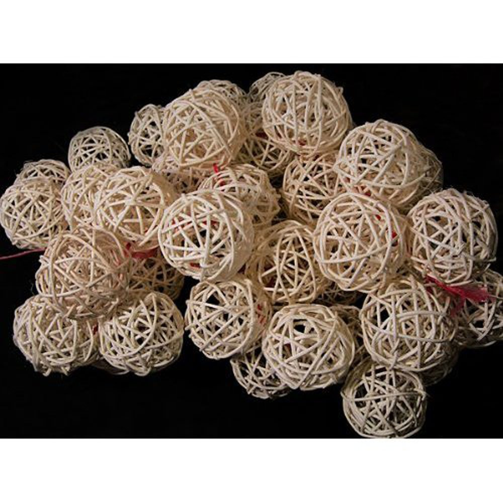Hight Quality Lot 50pcs Weaving Rattan Balls for DIY Craft Decoration Home Garden Wedding Display Material Thailand White by Thai Handicraft