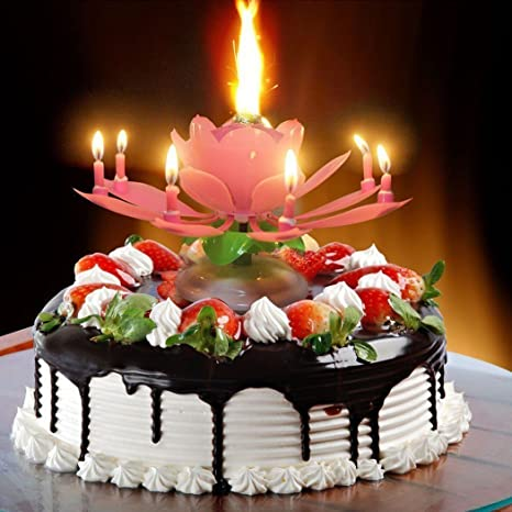 Masti Zone Musical Lotus Flower Rotating Happy Birthday Candle For Cake Decoration