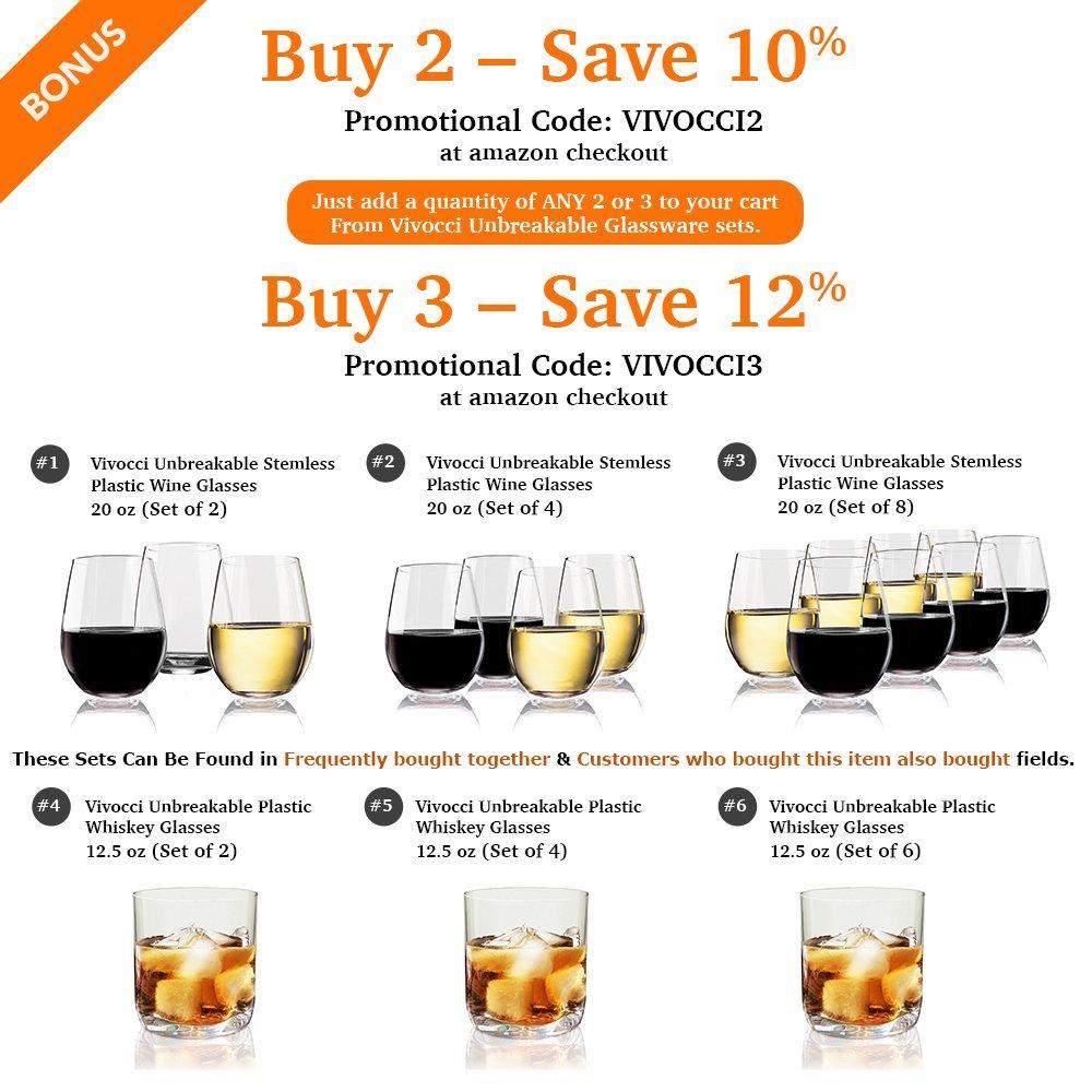 Vivocci Unbreakable Elegant Plastic Stemless Wine Glasses 20 oz | 100% Tritan Heavy Base | Shatterproof Glassware | Ideal For Cocktails & Scotch | Perfect For Homes & Bars | Dishwasher Safe | Set of 2 by Vivocci (Image #6)
