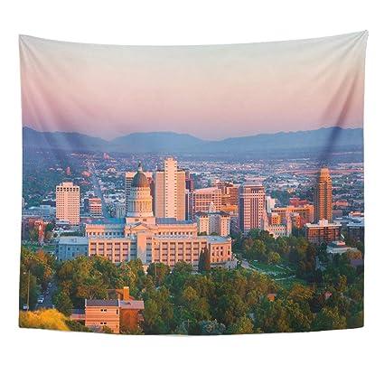 Amazon Tapestry Green Mountains Salt Lake City Utah At Sunset