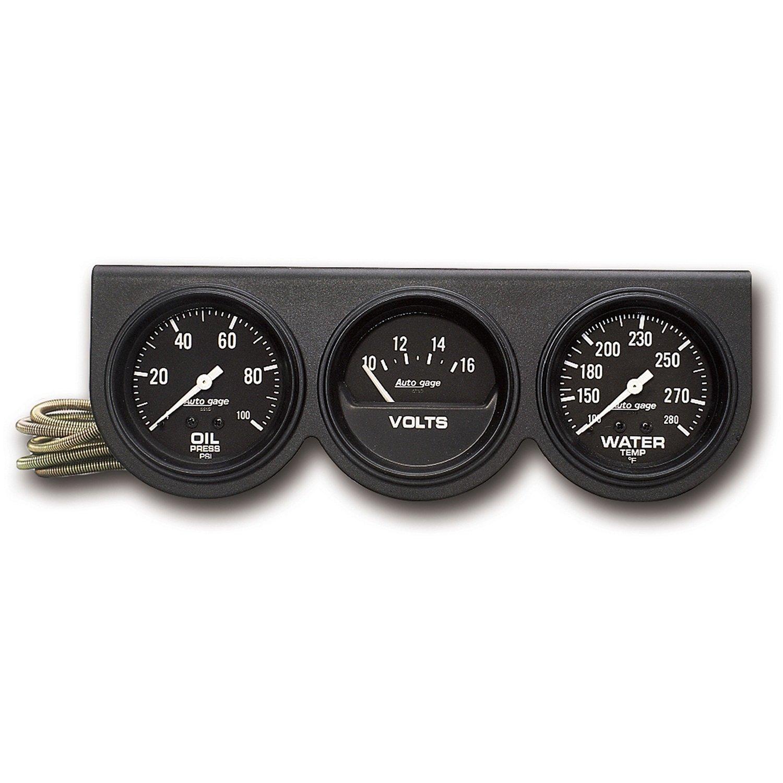 Auto Meter 2398 Autogage Black Console Oil/Volt/Water Gauge by AUTO METER