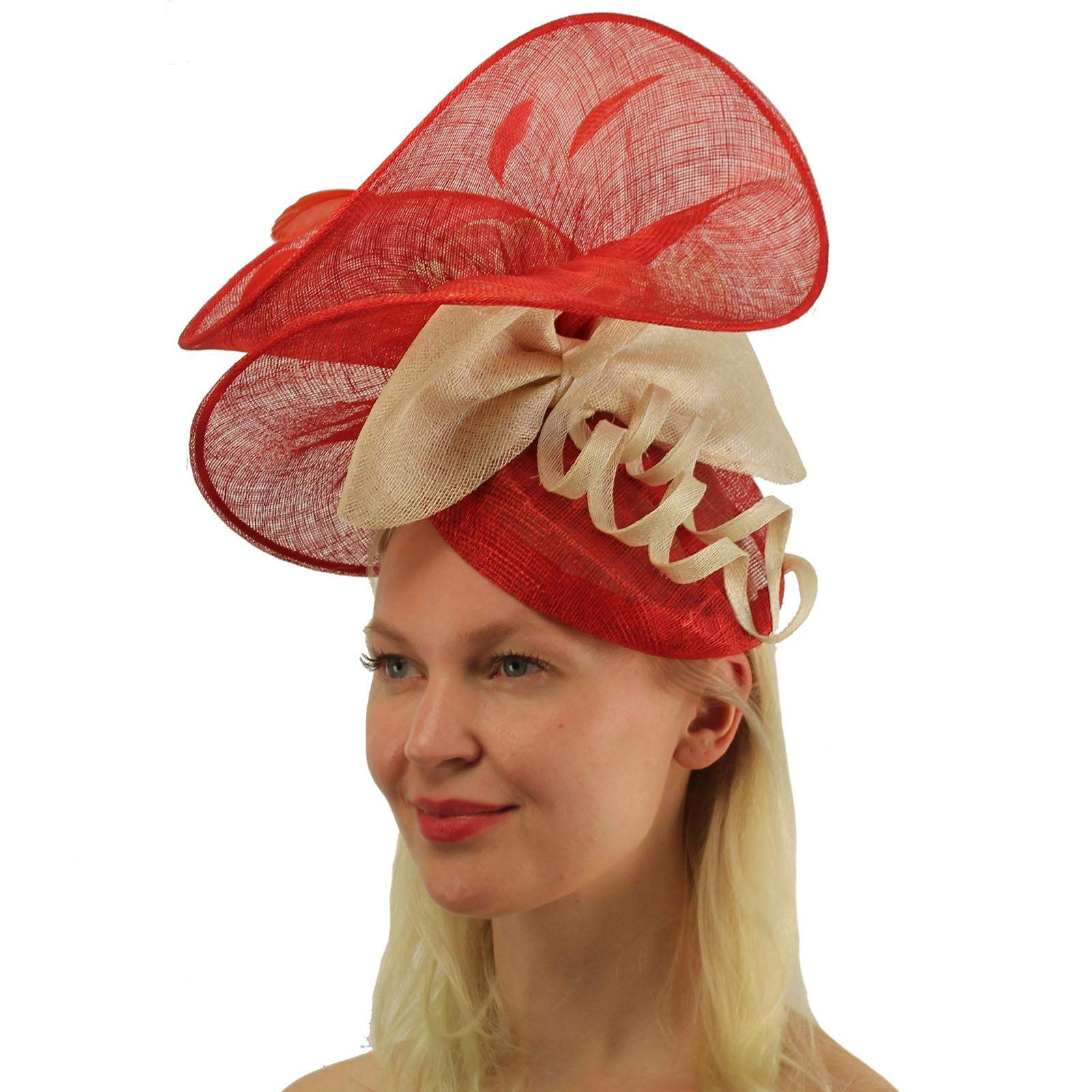 Fancy Sinamay Feathers Fascinators Headband Bridal Cocktail Derby Cap Hat Red