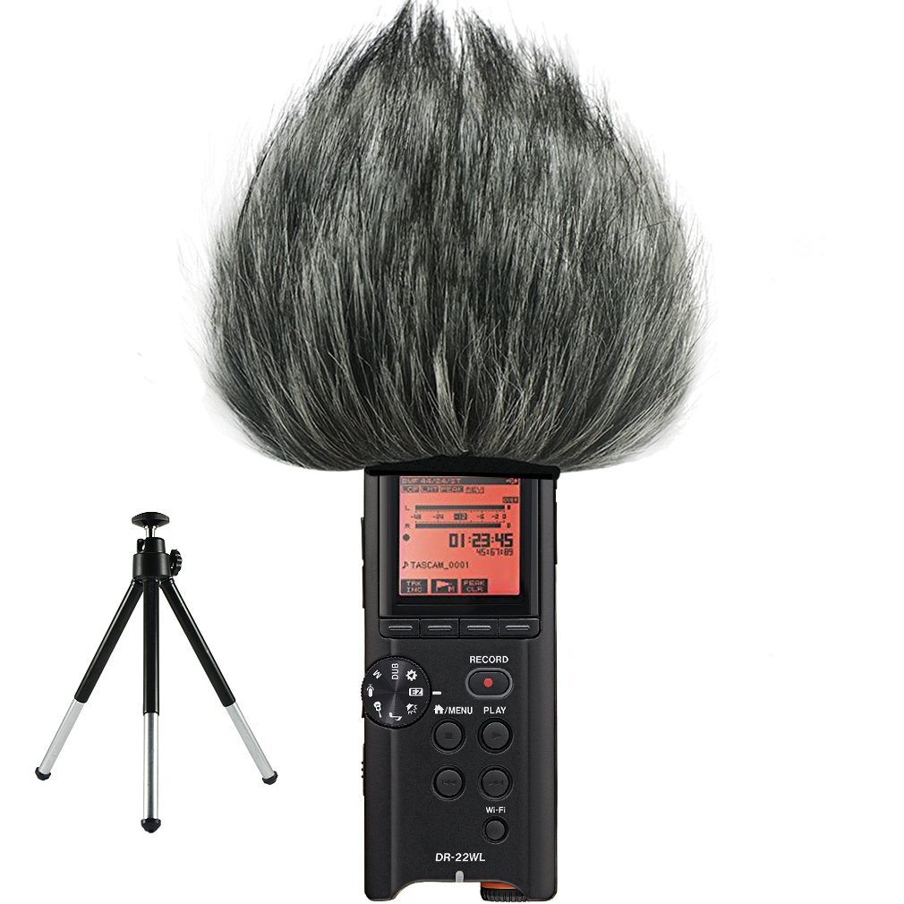 First2savvv TM-22WL-C01 Outdoor Portable Digital Recorders Furry Microphone Mic Windscreen Wind Muff for Tascam DR-22WL + mini tripod by first2savvv