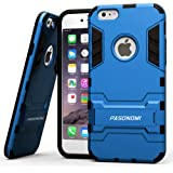 iPhone 6 Case, Pasonomi® [Heavy Duty] [Shock-Absorption] [Kickstand Feature] Hybrid Dual Layer Armor Defender Full Body Protective Case Cover for iPhone 6 4.7Inch (Blue)