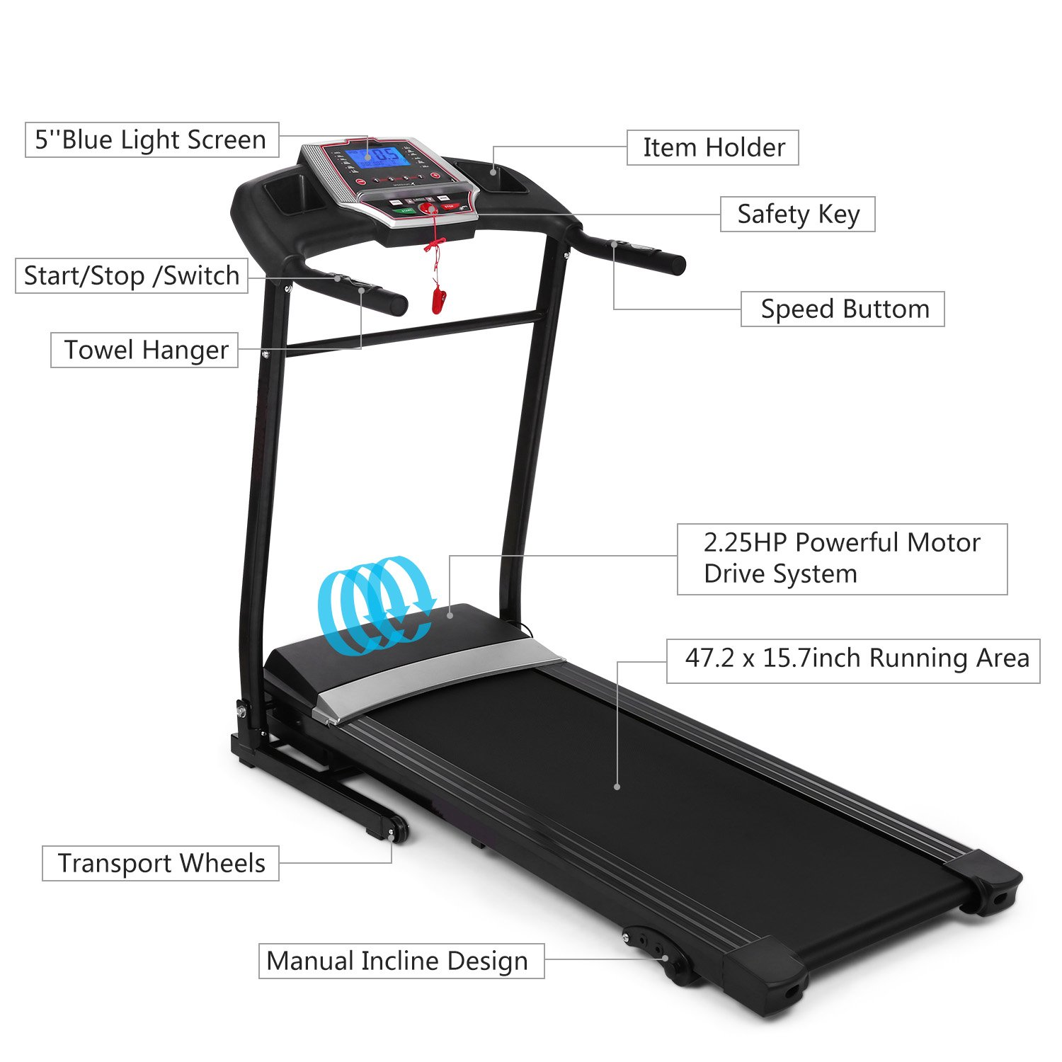 Miageek Fitness Folding Electric Jogging Treadmill with Smartphone APP Control, Walking Running Exercise Machine Incline Trainer Equipment Home Gym US Stock
