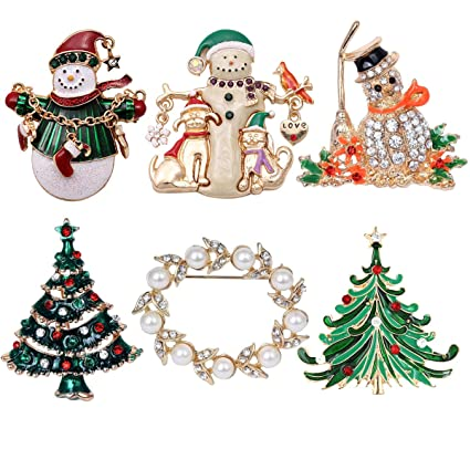 Regalo Di Natale 2.Jade Cherish 6 Spille Di Natale Multicolore Con Strass