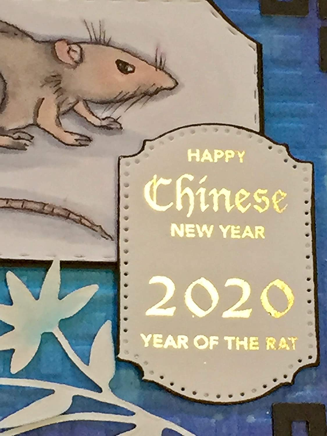 handmade Card by DEE Chinese New Year Year of the RAT 2020 ornate frame