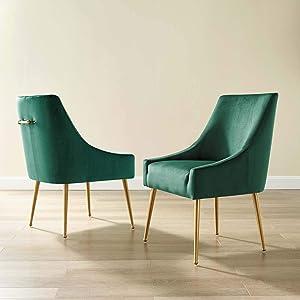 Modway Discern Upholstered Performance Velvet Dining Chair Set of 2, Green