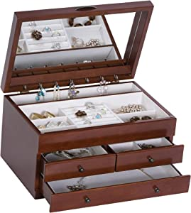 Mele & Co. Fairhaven Wooden Jewelry Box, Ring, Necklace, and Earring Organizer