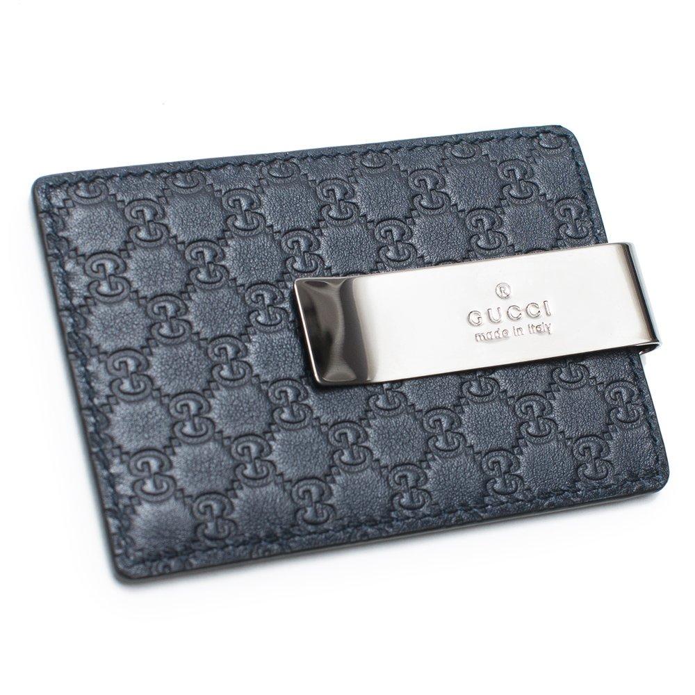 Gucci Blue Money Clip Leather Wallet Guccissima style Box New 115268 BMJ1R BLU