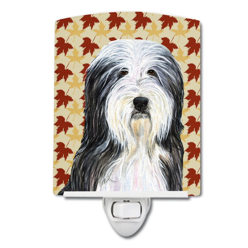 Caroline 's Treasures Bearded Collie Fall Leaves Portraitナイトライト、6