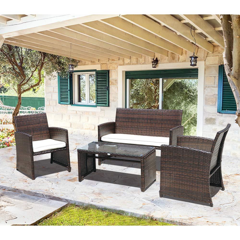 Brown Wicker Patio Furniture.Patiorama 4 Piece Patio Set Brown Wicker Patio Furniture With White Cushion 2 Single Chair 1 Loveseat