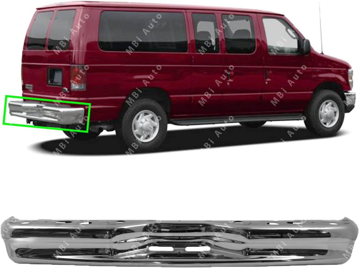 Rear Bumper Compatible with FORD ECONOLINE VAN 1992-2014 Chrome