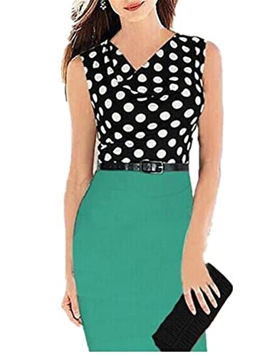 Aimur Women's Vintage Polka Dots Sleeveless Office Party Bodycon Dress