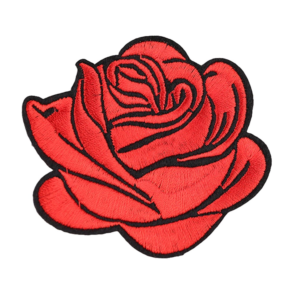 Gyswshh Tablecloth,Rose Badge Iron On Patch Decoration Flower Bag Hat Applique Clothing Accessory Red