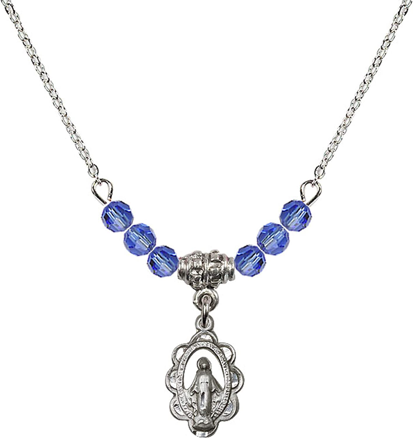 Bonyak Jewelry 18 Inch Rhodium Plated Necklace w// 4mm Blue September Birth Month Stone Beads and Miraculous Charm