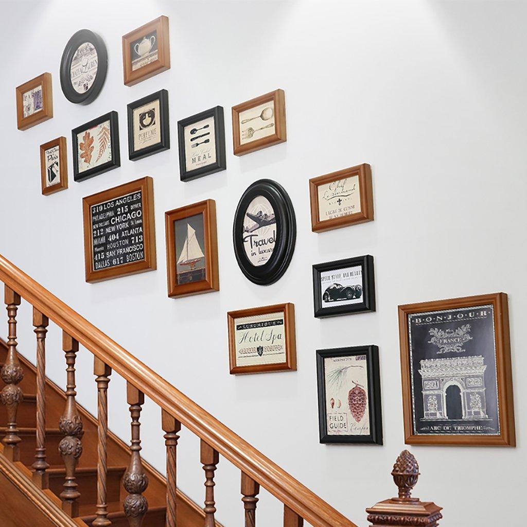 JLRQY Foto-Wand-Rahmen-Set Für Treppen Vintage Collage Bild ...