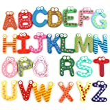 SYGA Wooden 26 English Upper Case (A to Z)Alphabets Stencils Letter Refrigerator Fridge Stickers Toys