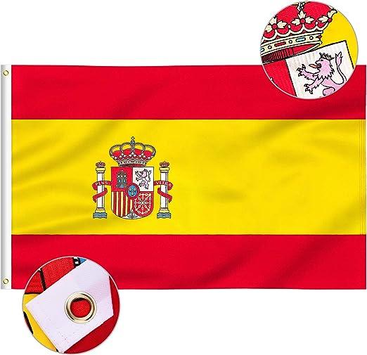 FLAGBURG Bandera de España Nylon 100% Duradero, Patrón Bordado con Colores Vivos, Cuádruple Costuras, Cabezal de Lona y Ojales de Latón(3x5FT EMB): Amazon.es: Jardín