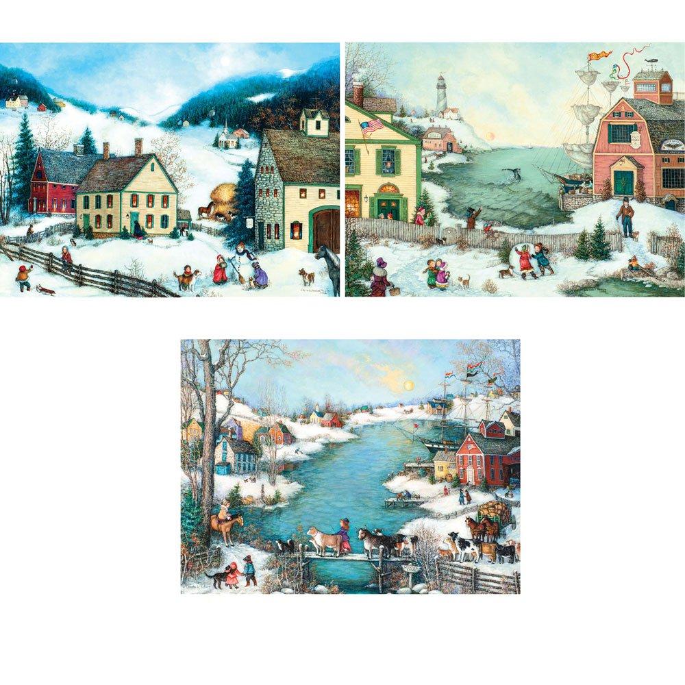 絶対一番安い Bits and - Pieces Collection - Set of by Three (3) 300 Piece Jigsaw Puzzle for Adults 46cm x 60cm - Winter Americana Collection - 300 pc Jigsaws by Artist Linda Nelson Stocks B07F3D1J19, CQB:118d620a --- 4x4.lt